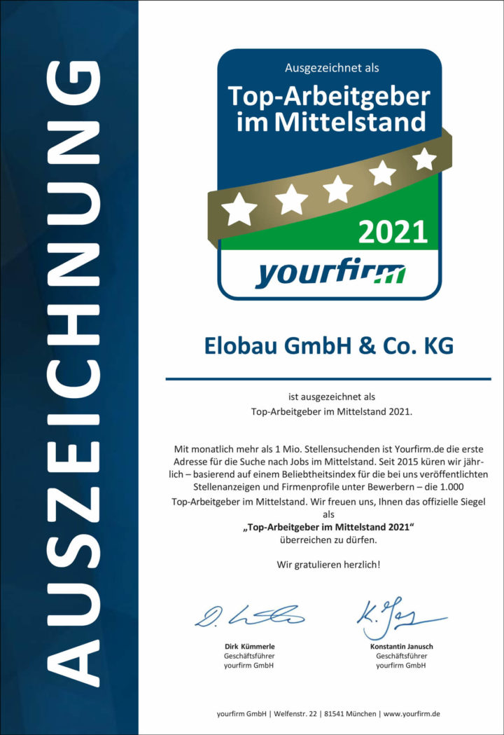 Urkunde für elobau als Top-Arbeitgeber im Mittelstand 2021